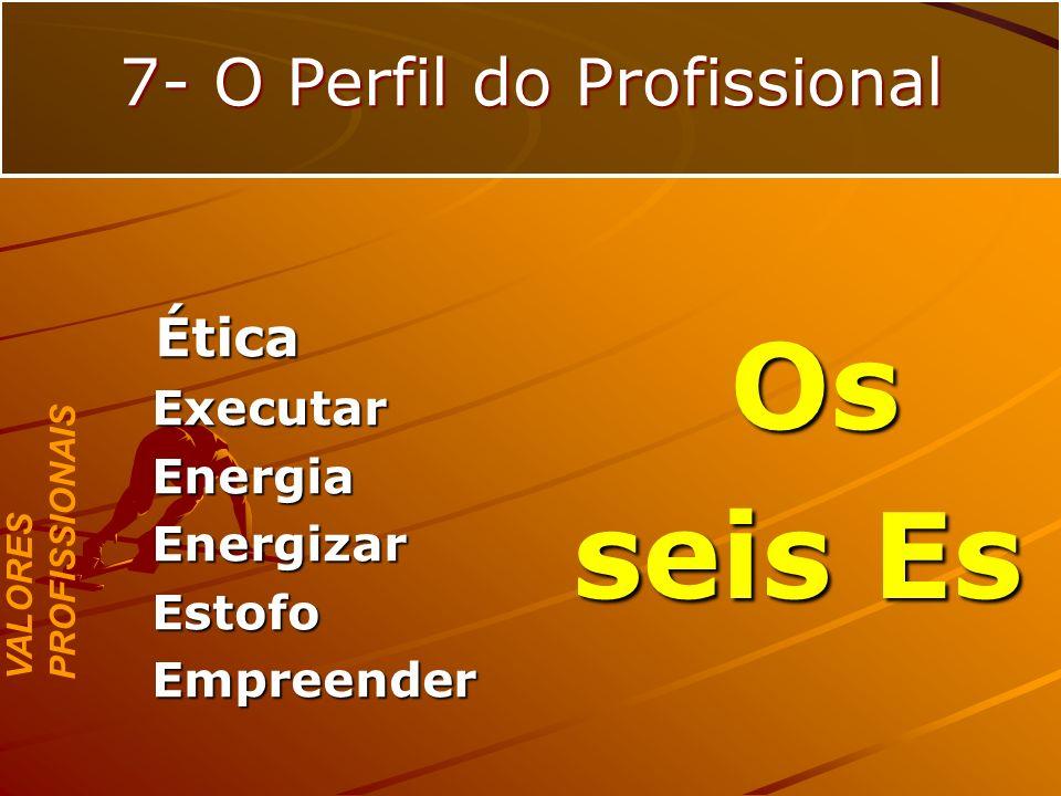 Ética ÉticaExecutarEnergiaEnergizarEstofoEmpreender VALORES PROFISSIONAIS 7- O Perfil do Profissional Os Os seis Es seis Es