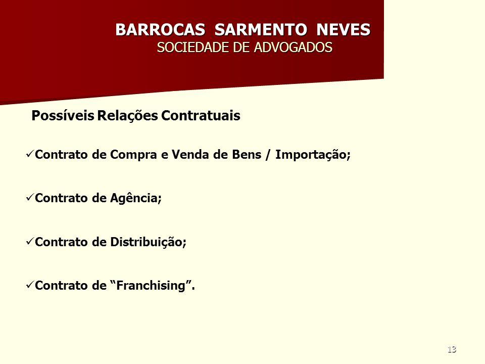13 BARROCAS SARMENTO NEVES SOCIEDADE DE ADVOGADOS Possíveis Relações Contratuais Contrato de Compra e Venda de Bens / Importação; Contrato de Agência;