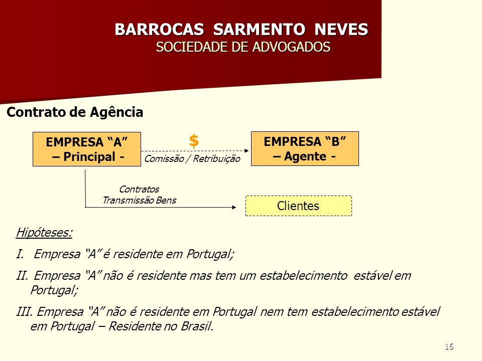 16 BARROCAS SARMENTO NEVES SOCIEDADE DE ADVOGADOS Contrato de Agência EMPRESA A – Principal - Hipóteses: I. Empresa A é residente em Portugal; II. Emp