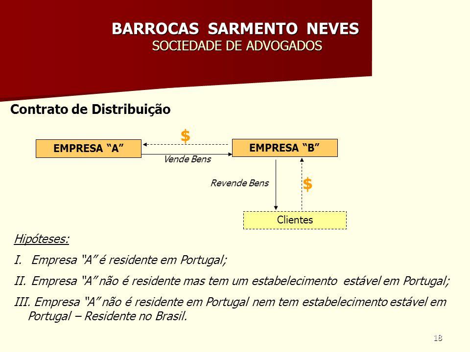 18 BARROCAS SARMENTO NEVES SOCIEDADE DE ADVOGADOS Contrato de Distribuição EMPRESA A Hipóteses: I. Empresa A é residente em Portugal; II. Empresa A nã