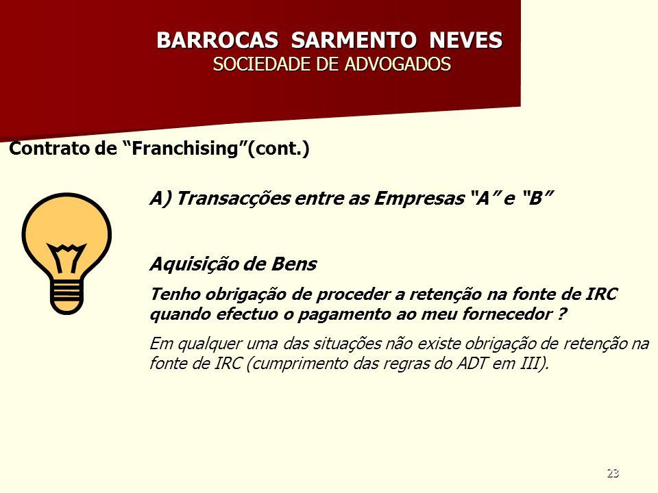 23 BARROCAS SARMENTO NEVES SOCIEDADE DE ADVOGADOS Contrato de Franchising(cont.) A) Transacções entre as Empresas A e B Aquisição de Bens Tenho obriga