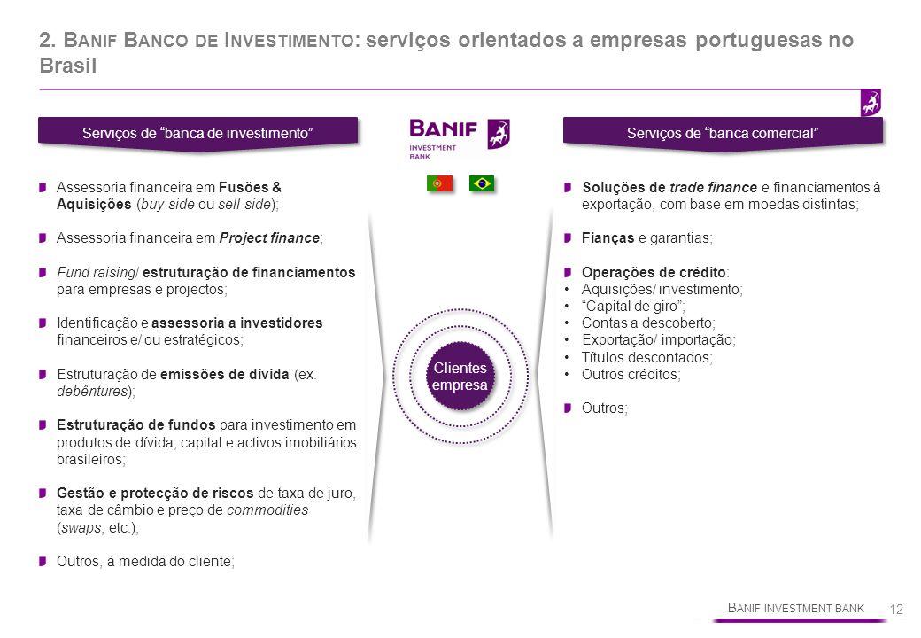 B ANIF INVESTMENT BANK 12 2. B ANIF B ANCO DE I NVESTIMENTO : serviços orientados a empresas portuguesas no Brasil Serviços de banca de investimento S