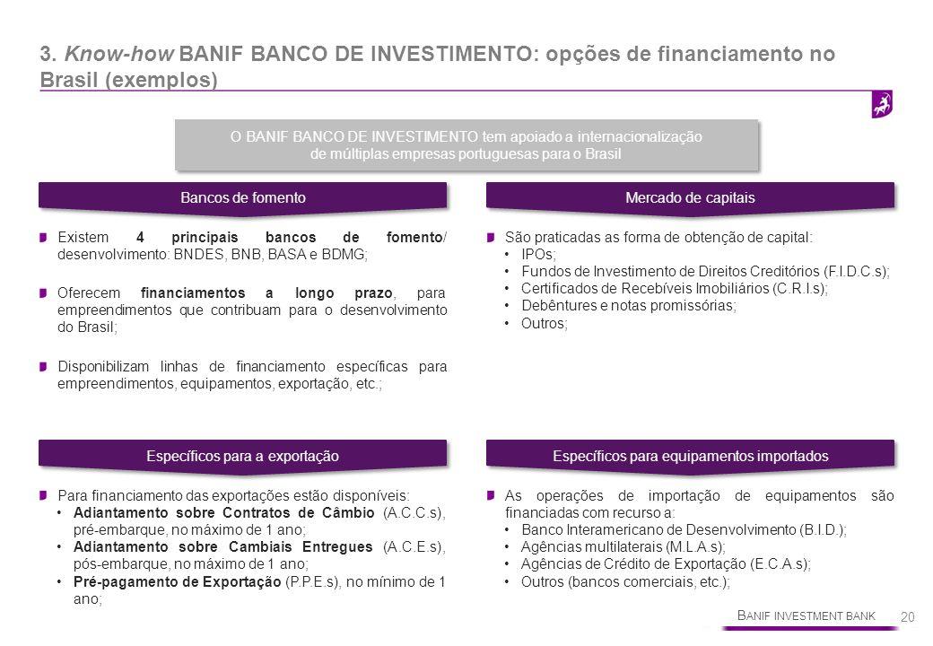 B ANIF INVESTMENT BANK 20 3. Know-how BANIF BANCO DE INVESTIMENTO: opções de financiamento no Brasil (exemplos) Bancos de fomento Mercado de capitais