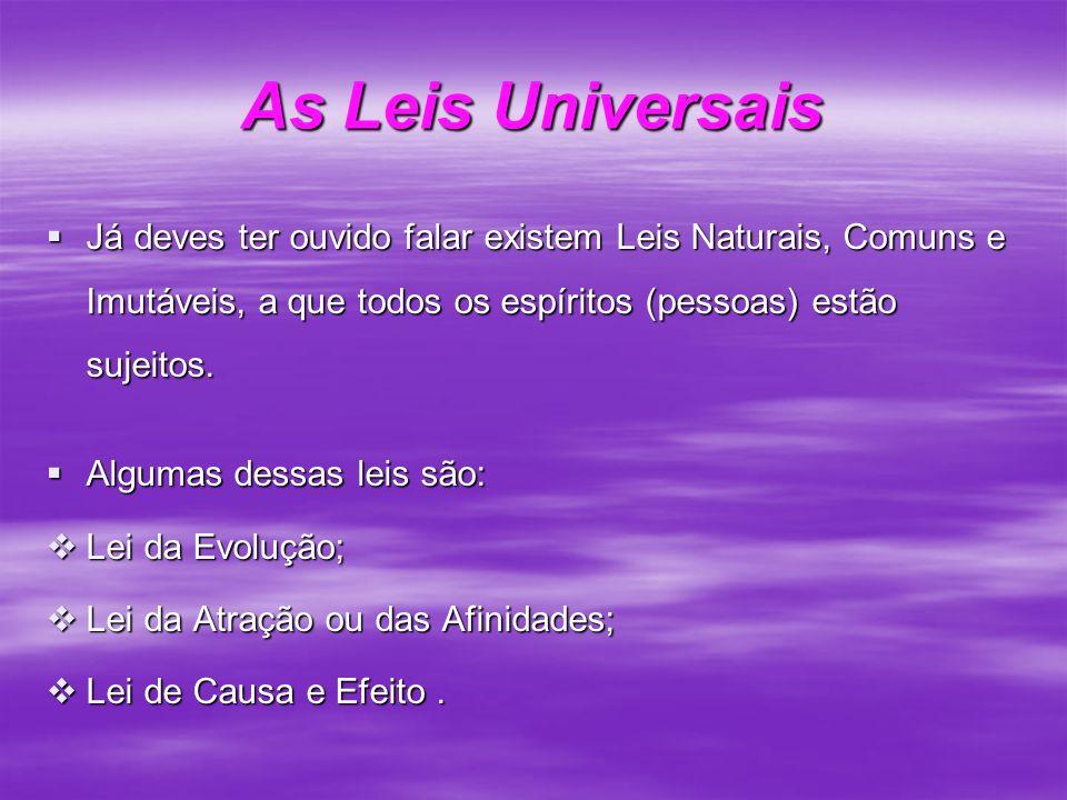 As Leis Universais Já deves ter ouvido falar existem Leis Naturais, Comuns e Imutáveis, a que todos os espíritos (pessoas) estão sujeitos. Já deves te