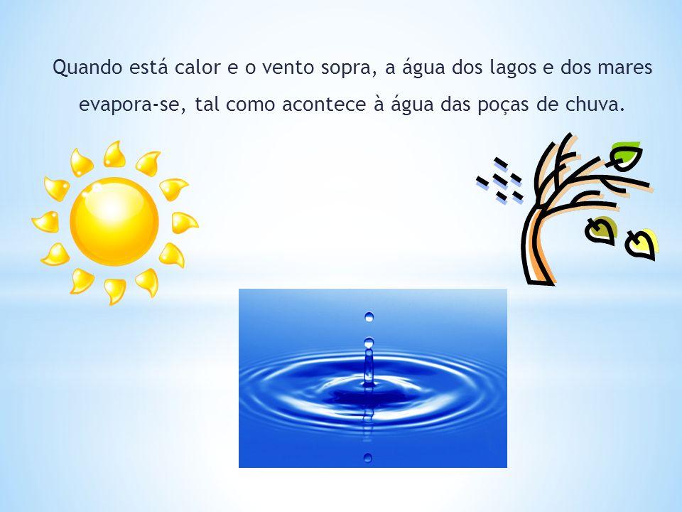Quando está calor e o vento sopra, a água dos lagos e dos mares evapora-se, tal como acontece à água das poças de chuva.