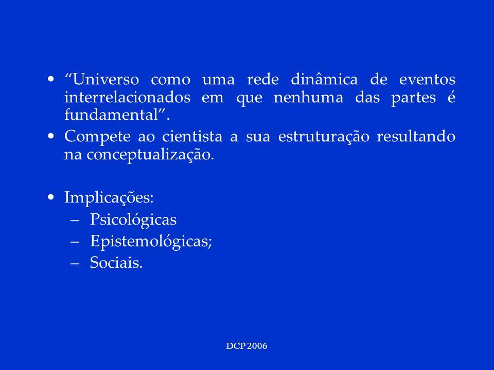 DCP 2006 Universo como uma rede dinâmica de eventos interrelacionados em que nenhuma das partes é fundamental. Compete ao cientista a sua estruturação