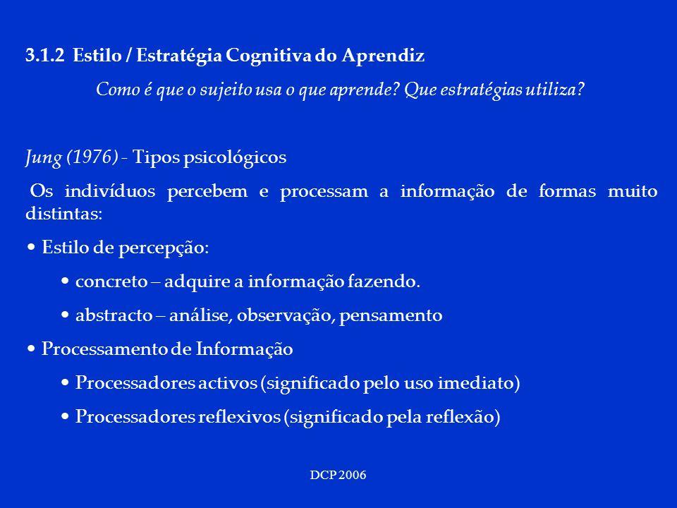 DCP 2006 3.1.2 Estilo / Estratégia Cognitiva do Aprendiz Como é que o sujeito usa o que aprende? Que estratégias utiliza? Jung (1976) - Tipos psicológ