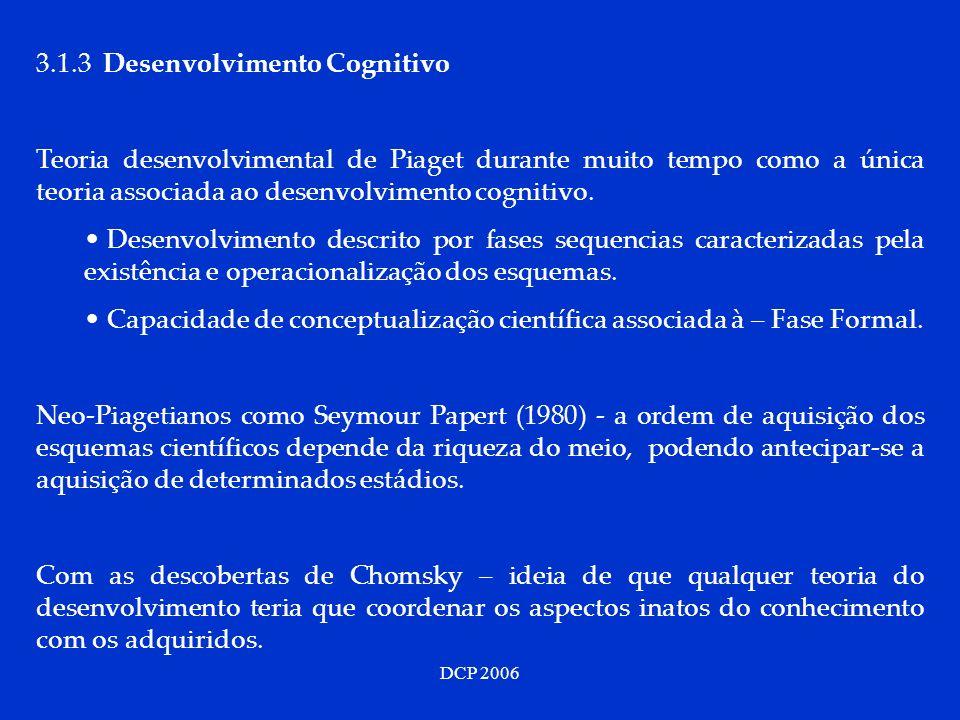 DCP 2006 3.1.3 Desenvolvimento Cognitivo Teoria desenvolvimental de Piaget durante muito tempo como a única teoria associada ao desenvolvimento cognit