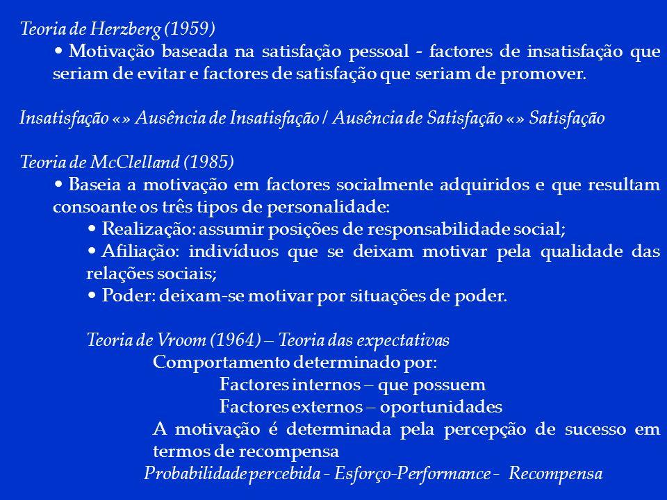 DCP 2006 Teoria de Herzberg (1959) Motivação baseada na satisfação pessoal - factores de insatisfação que seriam de evitar e factores de satisfação qu