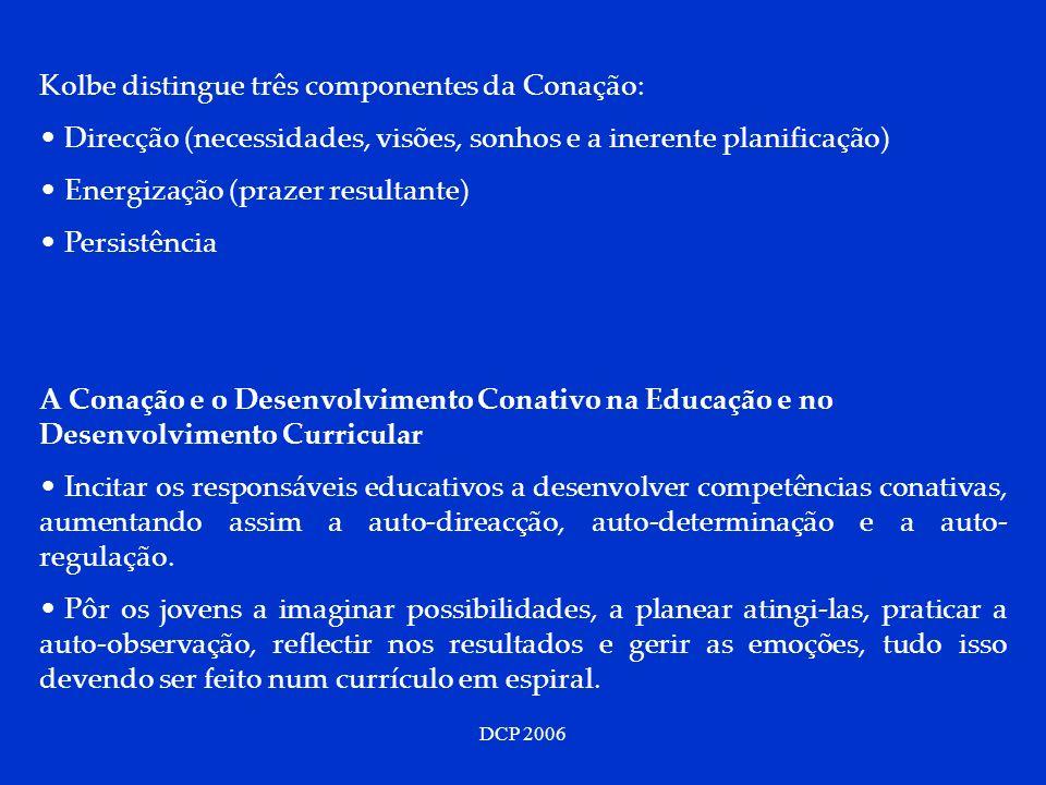 DCP 2006 Kolbe distingue três componentes da Conação: Direcção (necessidades, visões, sonhos e a inerente planificação) Energização (prazer resultante