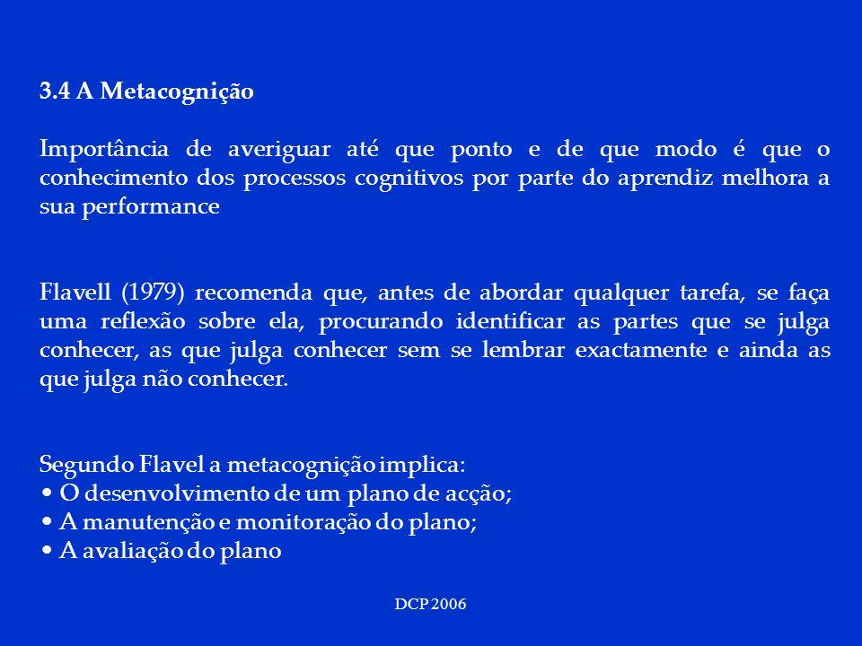 DCP 2006 3.4 A Metacognição Importância de averiguar até que ponto e de que modo é que o conhecimento dos processos cognitivos por parte do aprendiz m