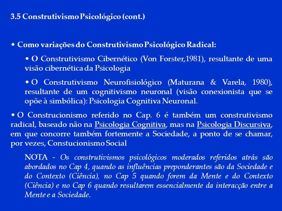 DCP 2006 3.5 Construtivismo Psicológico (cont.) Como variações do Construtivismo Psicológico Radical: O Construtivismo Cibernético (Von Forster,1981),