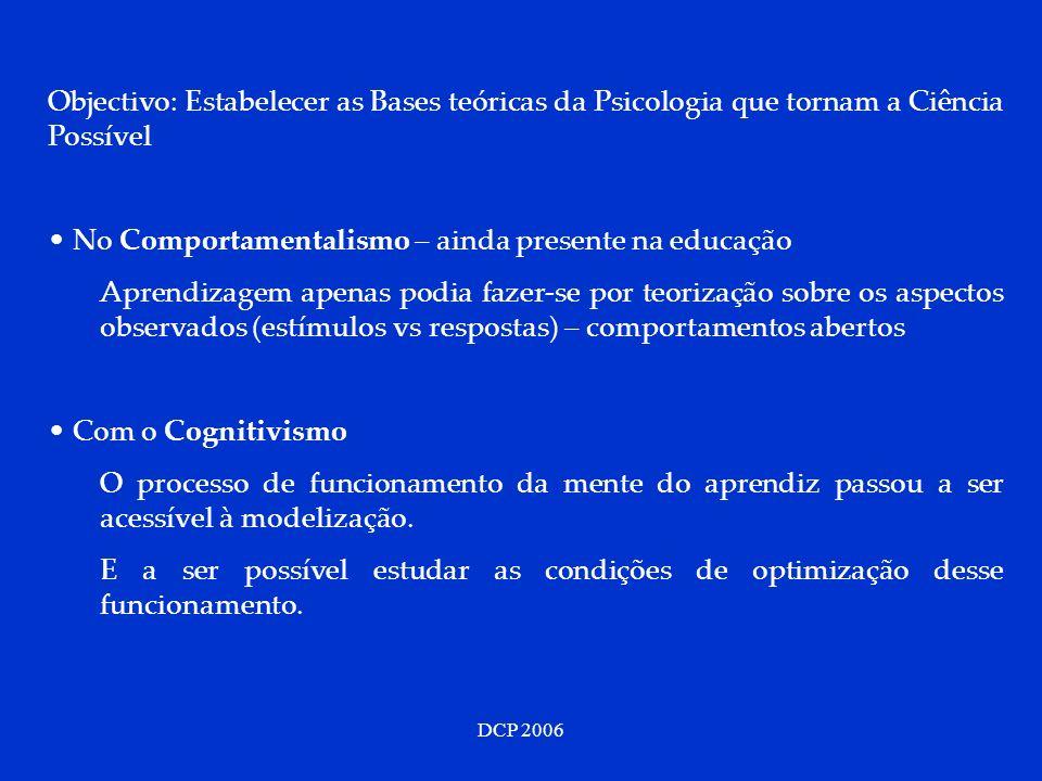 DCP 2006 Objectivo: Estabelecer as Bases teóricas da Psicologia que tornam a Ciência Possível No Comportamentalismo – ainda presente na educação Apren