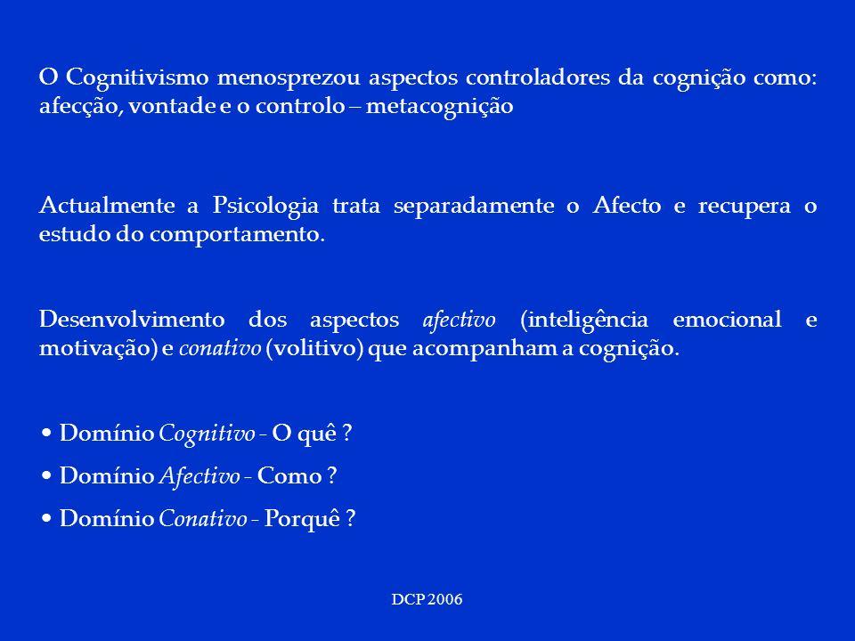 DCP 2006 O Cognitivismo menosprezou aspectos controladores da cognição como: afecção, vontade e o controlo – metacognição Actualmente a Psicologia tra
