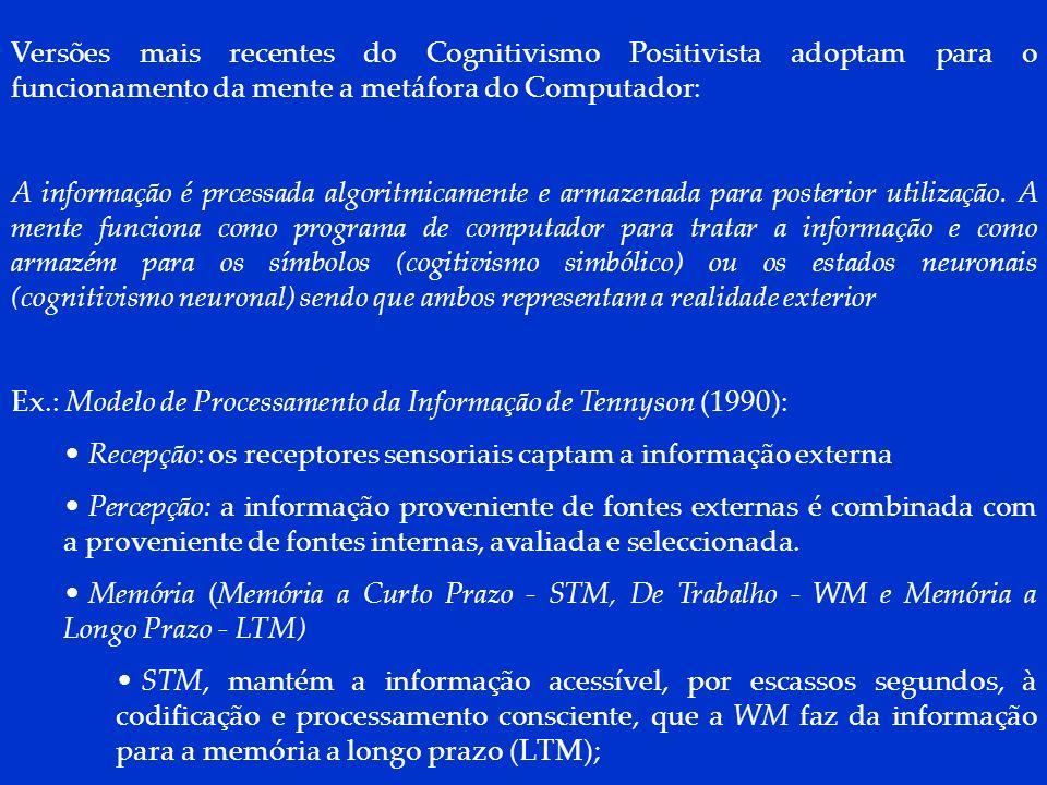 DCP 2006 Versões mais recentes do Cognitivismo Positivista adoptam para o funcionamento da mente a metáfora do Computador: A informação é prcessada al