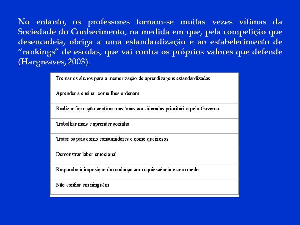 DCP 2006 No entanto, os professores tornam-se muitas vezes vítimas da Sociedade do Conhecimento, na medida em que, pela competição que desencadeia, ob