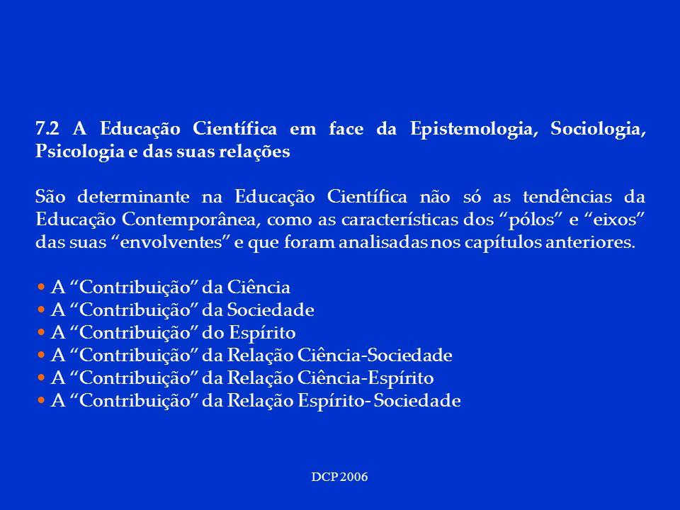 DCP 2006 7.2 A Educação Científica em face da Epistemologia, Sociologia, Psicologia e das suas relações São determinante na Educação Científica não só