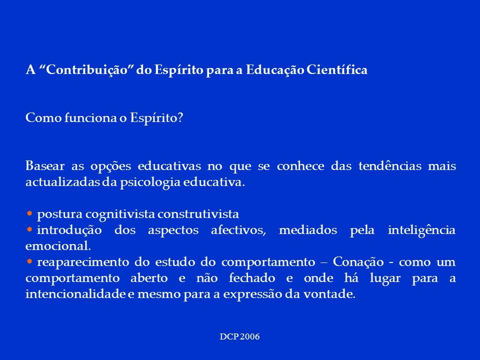 DCP 2006 A Contribuição do Espírito para a Educação Científica Como funciona o Espírito? Basear as opções educativas no que se conhece das tendências