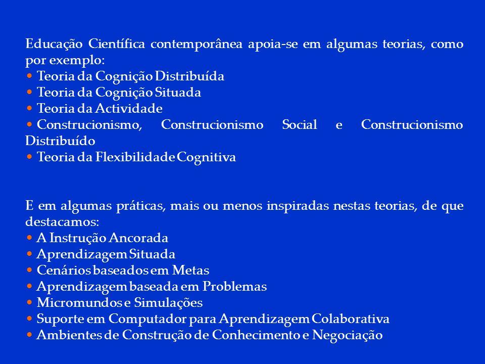 DCP 2006 Educação Científica contemporânea apoia-se em algumas teorias, como por exemplo: Teoria da Cognição Distribuída Teoria da Cognição Situada Te