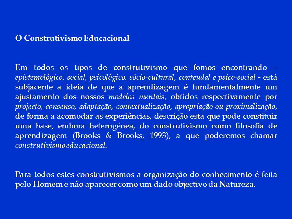 DCP 2006 O Construtivismo Educacional Em todos os tipos de construtivismo que fomos encontrando – epistemológico, social, psicológico, sócio-cultural,
