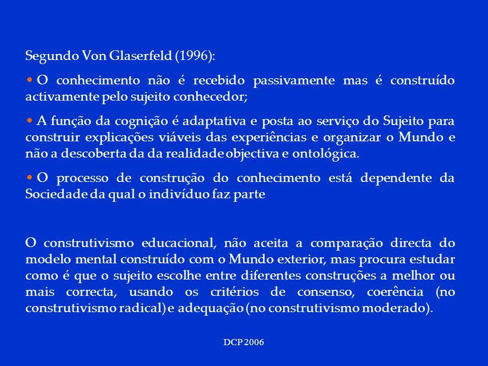 DCP 2006 Segundo Von Glaserfeld (1996): O conhecimento não é recebido passivamente mas é construído activamente pelo sujeito conhecedor; A função da c