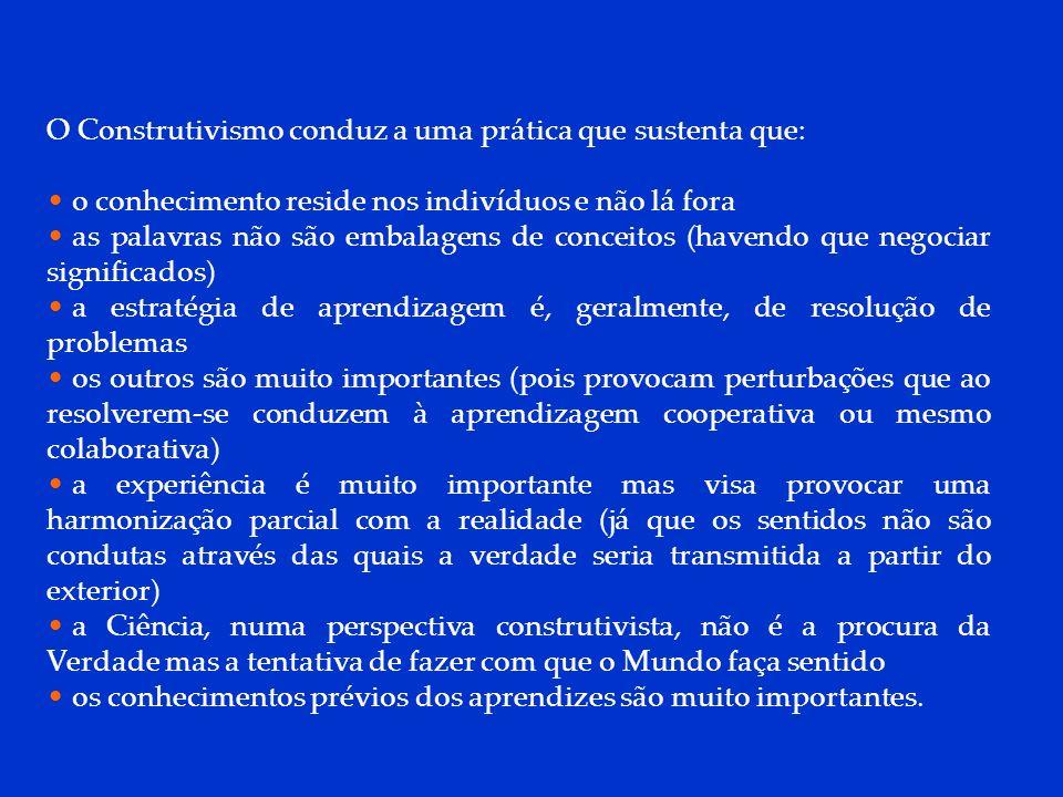 DCP 2006 O Construtivismo conduz a uma prática que sustenta que: o conhecimento reside nos indivíduos e não lá fora as palavras não são embalagens de