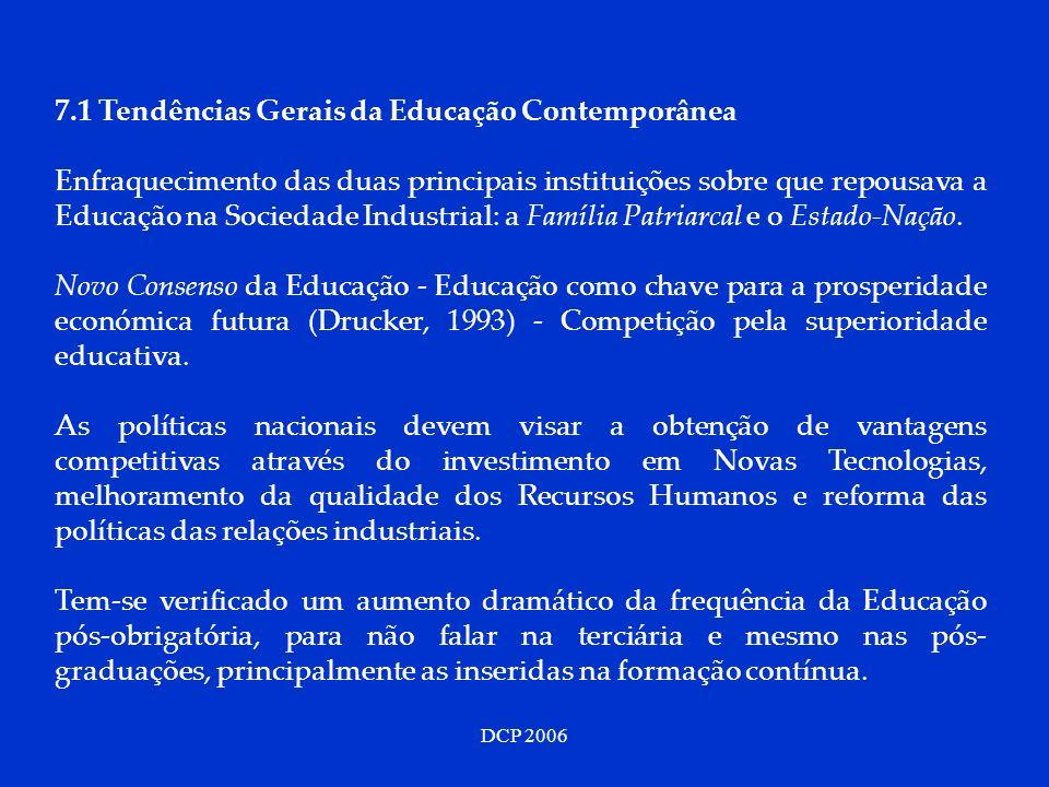 DCP 2006 7.1 Tendências Gerais da Educação Contemporânea Enfraquecimento das duas principais instituições sobre que repousava a Educação na Sociedade
