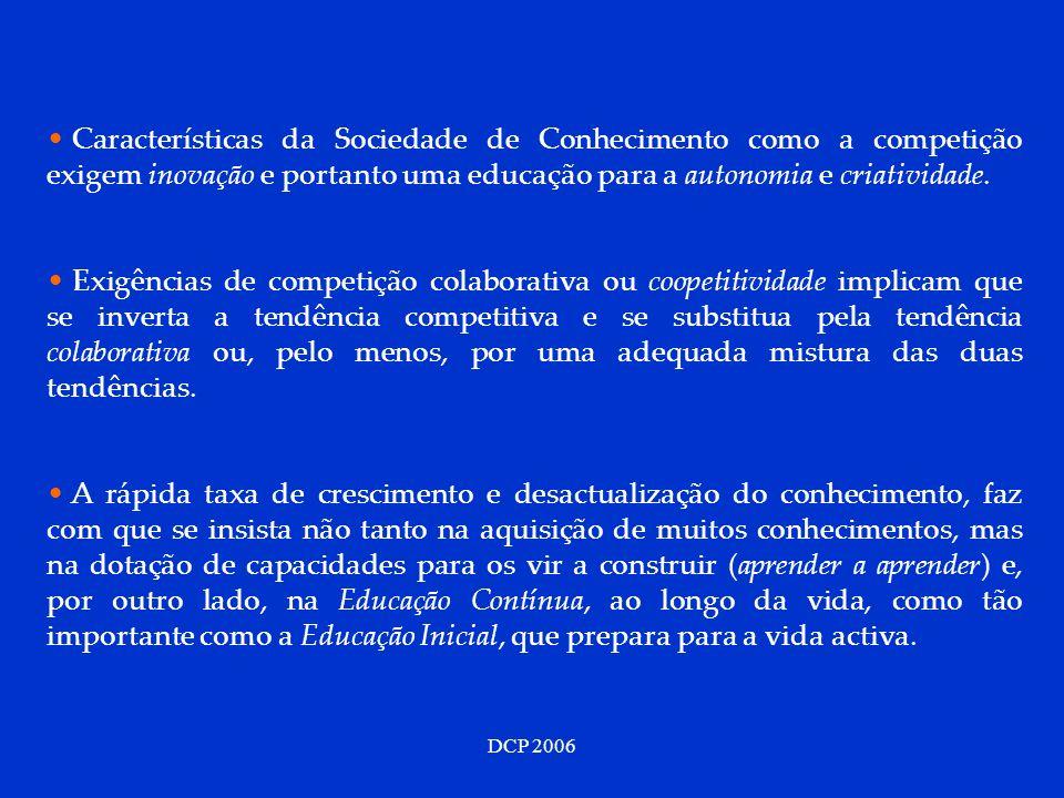 DCP 2006 Características da Sociedade de Conhecimento como a competição exigem inovação e portanto uma educação para a autonomia e criatividade. Exigê