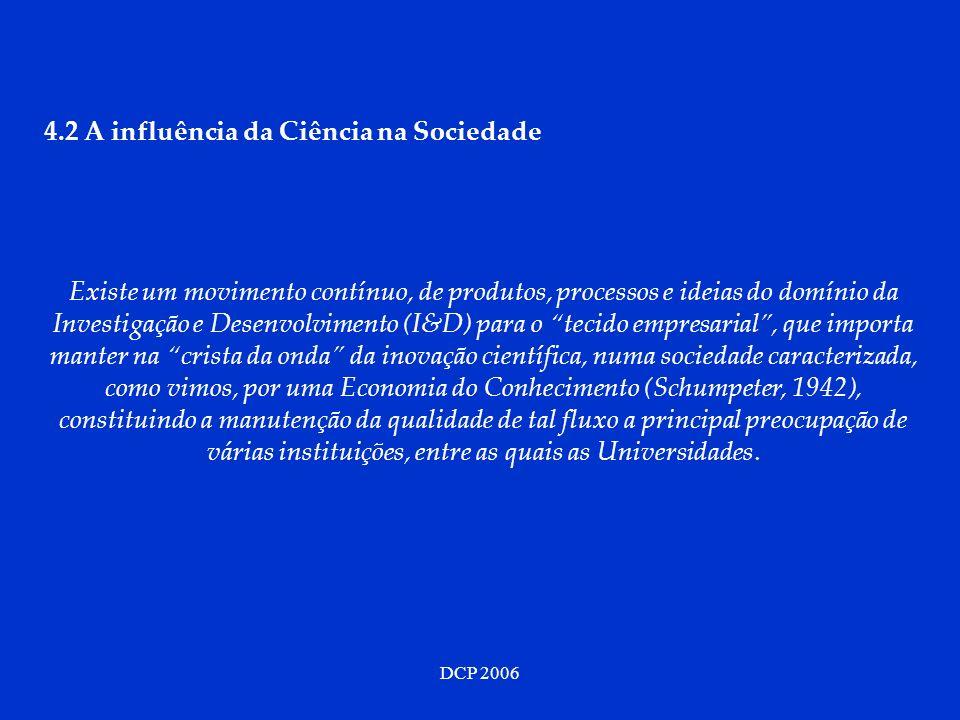 DCP 2006 4.2 A influência da Ciência na Sociedade Existe um movimento contínuo, de produtos, processos e ideias do domínio da Investigação e Desenvolvimento (I&D) para o tecido empresarial, que importa manter na crista da onda da inovação científica, numa sociedade caracterizada, como vimos, por uma Economia do Conhecimento (Schumpeter, 1942), constituindo a manutenção da qualidade de tal fluxo a principal preocupação de várias instituições, entre as quais as Universidades.