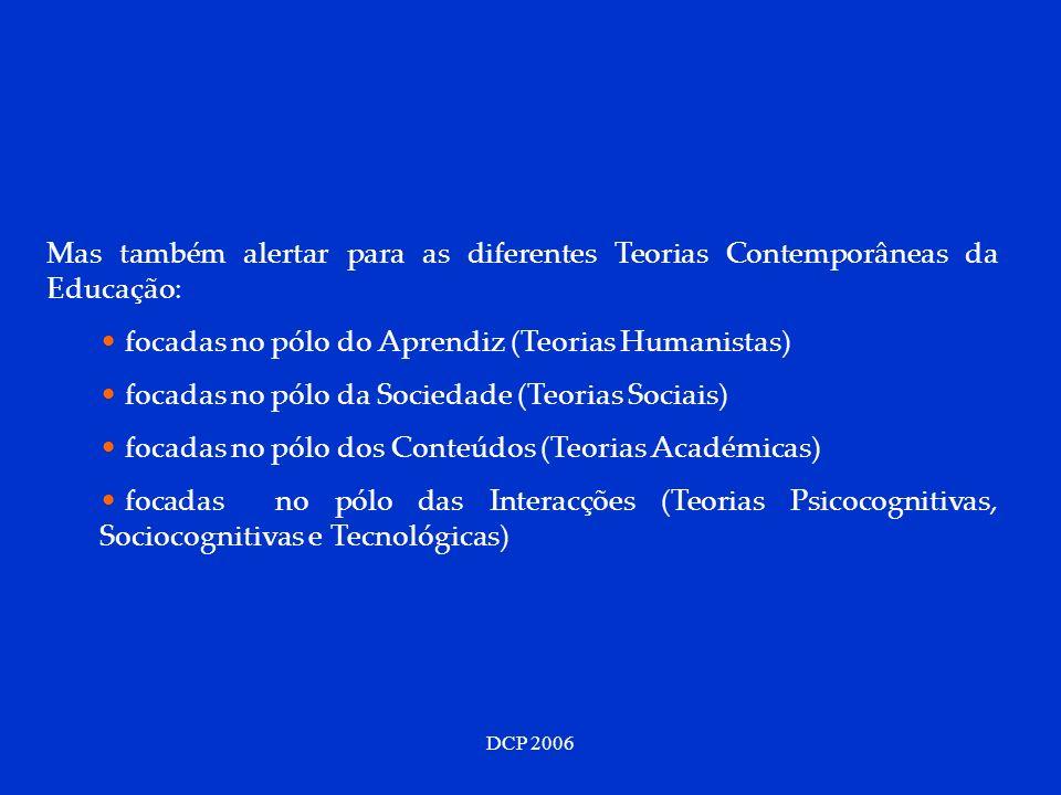 DCP 2006 Mas também alertar para as diferentes Teorias Contemporâneas da Educação: focadas no pólo do Aprendiz (Teorias Humanistas) focadas no pólo da Sociedade (Teorias Sociais) focadas no pólo dos Conteúdos (Teorias Académicas) focadas no pólo das Interacções (Teorias Psicocognitivas, Sociocognitivas e Tecnológicas)