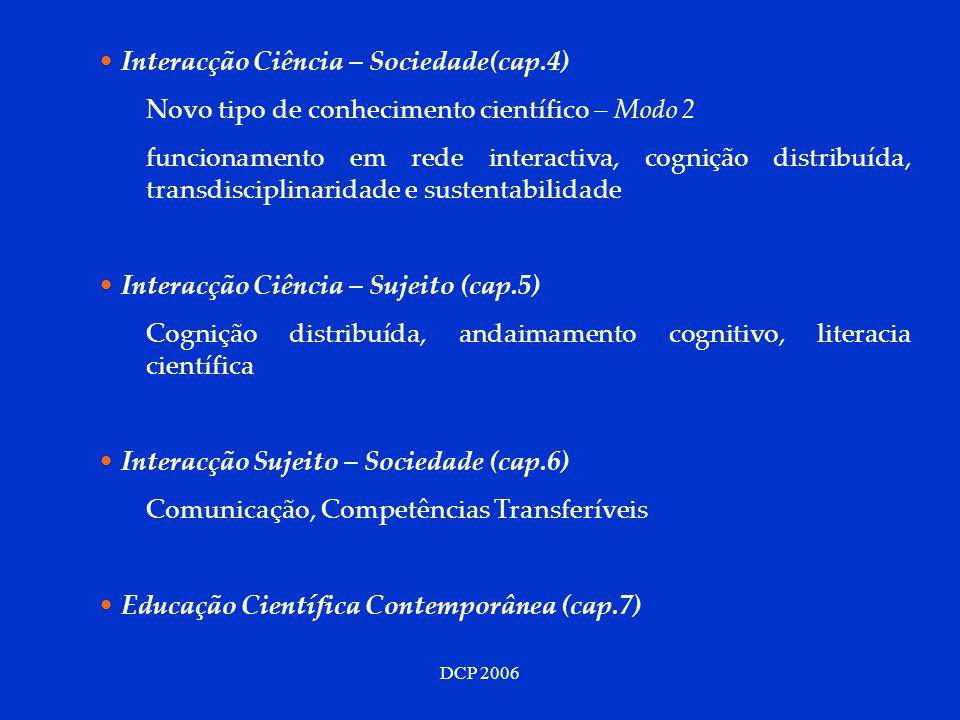 DCP 2006 Interacção Ciência – Sociedade(cap.4) Novo tipo de conhecimento científico – Modo 2 funcionamento em rede interactiva, cognição distribuída, transdisciplinaridade e sustentabilidade Interacção Ciência – Sujeito (cap.5) Cognição distribuída, andaimamento cognitivo, literacia científica Interacção Sujeito – Sociedade (cap.6) Comunicação, Competências Transferíveis Educação Científica Contemporânea (cap.7)