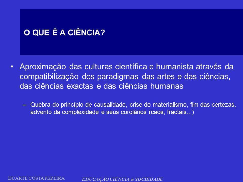 DUARTE COSTA PEREIRA EDUCAÇÃO CIÊNCIA & SOCIEDADE O QUE É A CIÊNCIA? Aproximação das culturas científica e humanista através da compatibilização dos p