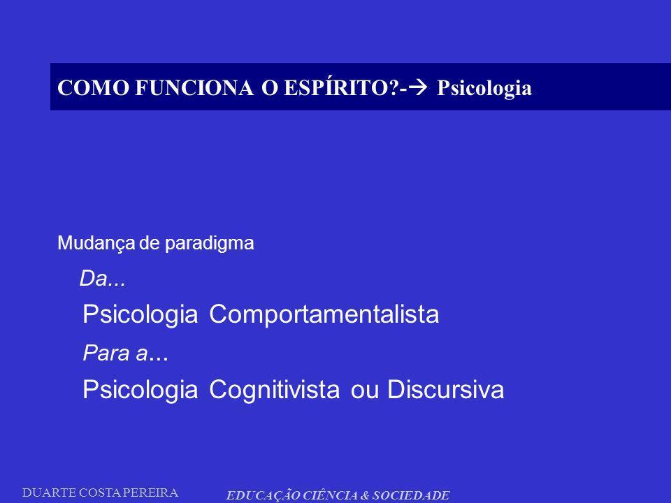 DUARTE COSTA PEREIRA EDUCAÇÃO CIÊNCIA & SOCIEDADE COMO FUNCIONA O ESPÍRITO?- Psicologia Mudança de paradigma Da... Psicologia Comportamentalista Para