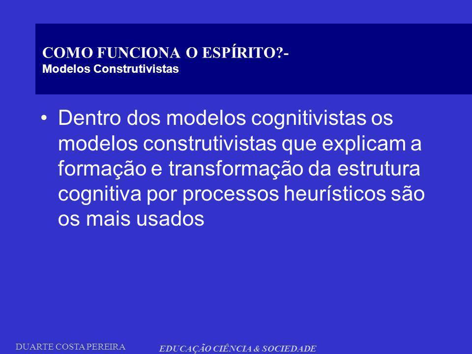 DUARTE COSTA PEREIRA EDUCAÇÃO CIÊNCIA & SOCIEDADE COMO FUNCIONA O ESPÍRITO?- Modelos Construtivistas Dentro dos modelos cognitivistas os modelos const