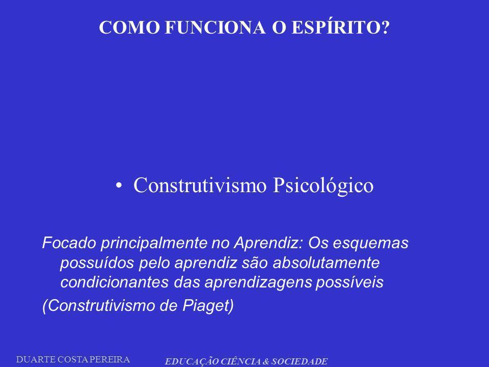 DUARTE COSTA PEREIRA EDUCAÇÃO CIÊNCIA & SOCIEDADE COMO FUNCIONA O ESPÍRITO? Construtivismo Psicológico Focado principalmente no Aprendiz: Os esquemas