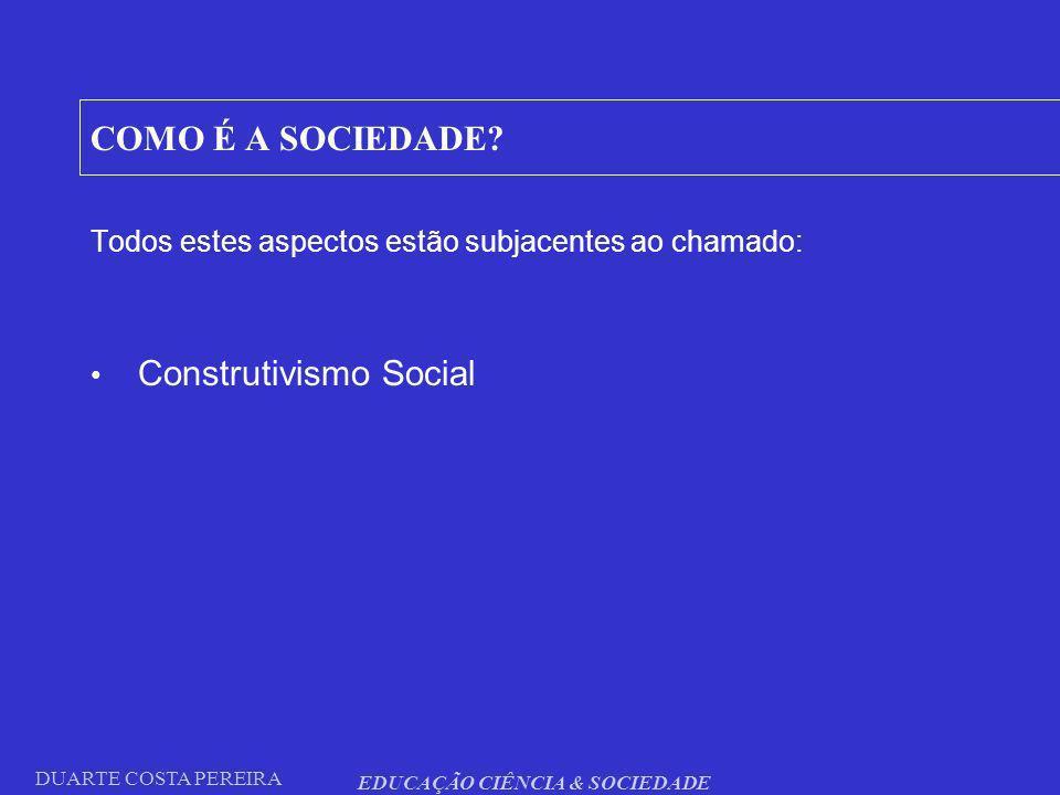 DUARTE COSTA PEREIRA EDUCAÇÃO CIÊNCIA & SOCIEDADE COMO É A SOCIEDADE? Todos estes aspectos estão subjacentes ao chamado: Construtivismo Social
