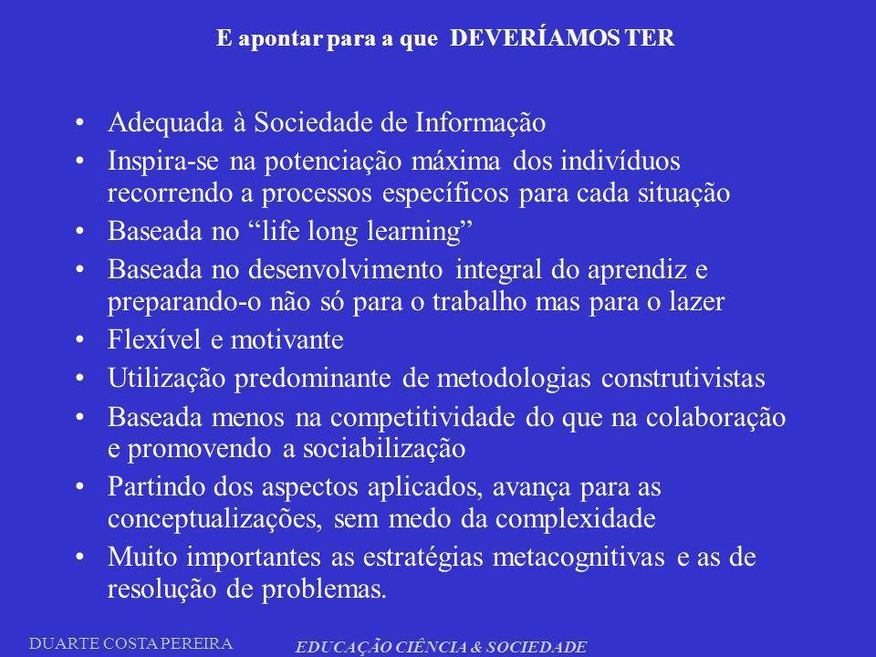 DUARTE COSTA PEREIRA EDUCAÇÃO CIÊNCIA & SOCIEDADE E apontar para a que DEVERÍAMOS TER Adequada à Sociedade de Informação Inspira-se na potenciação máx