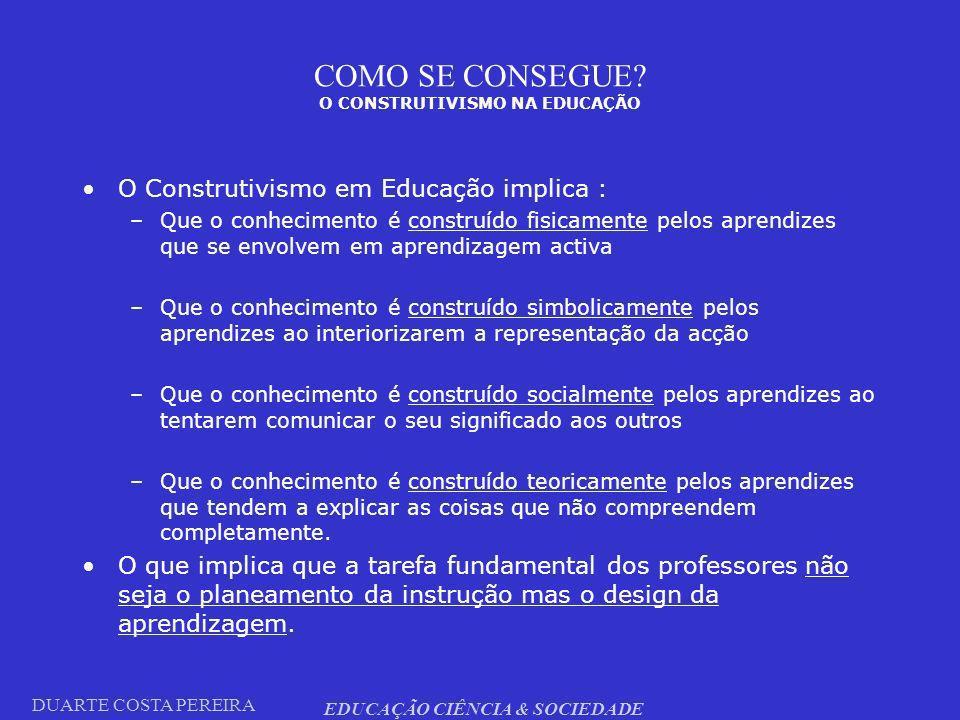 DUARTE COSTA PEREIRA EDUCAÇÃO CIÊNCIA & SOCIEDADE COMO SE CONSEGUE? O CONSTRUTIVISMO NA EDUCAÇÃO O Construtivismo em Educação implica : –Que o conheci