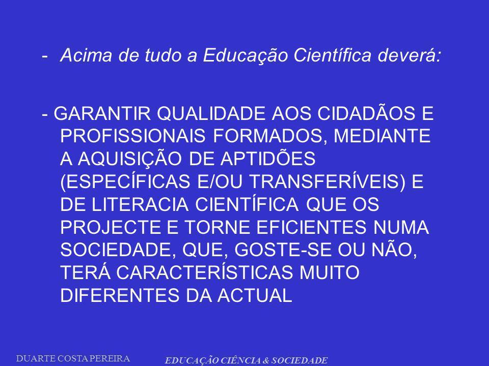 DUARTE COSTA PEREIRA EDUCAÇÃO CIÊNCIA & SOCIEDADE -Acima de tudo a Educação Científica deverá: - GARANTIR QUALIDADE AOS CIDADÃOS E PROFISSIONAIS FORMA