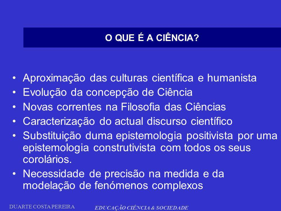 DUARTE COSTA PEREIRA EDUCAÇÃO CIÊNCIA & SOCIEDADE O QUE É A CIÊNCIA? Aproximação das culturas científica e humanista Evolução da concepção de Ciência
