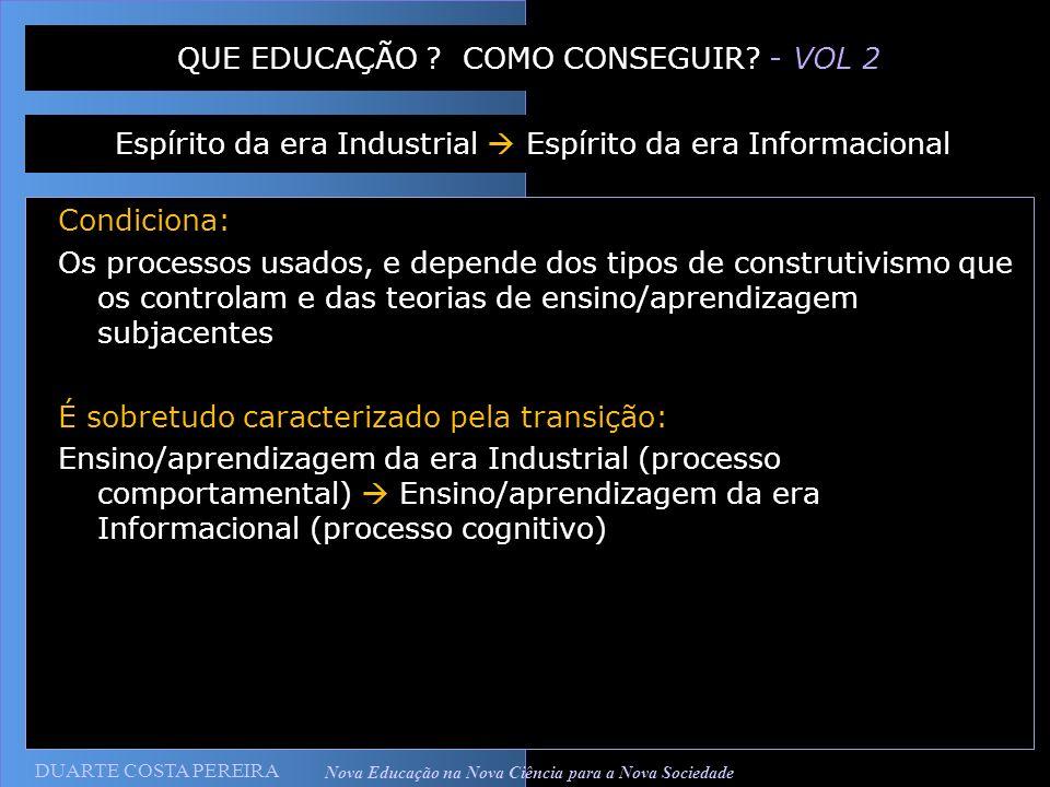 DUARTE COSTA PEREIRA Nova Educação na Nova Ciência para a Nova Sociedade Condiciona: Os processos usados, e depende dos tipos de construtivismo que os