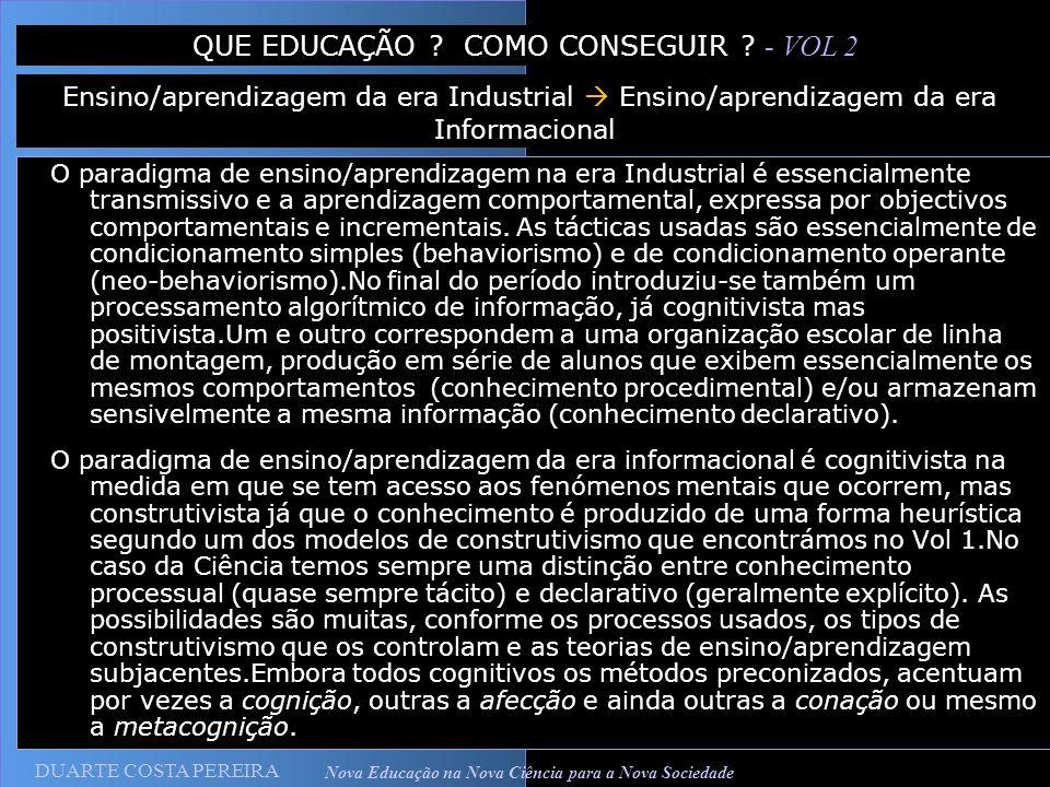 DUARTE COSTA PEREIRA Nova Educação na Nova Ciência para a Nova Sociedade O paradigma de ensino/aprendizagem na era Industrial é essencialmente transmi