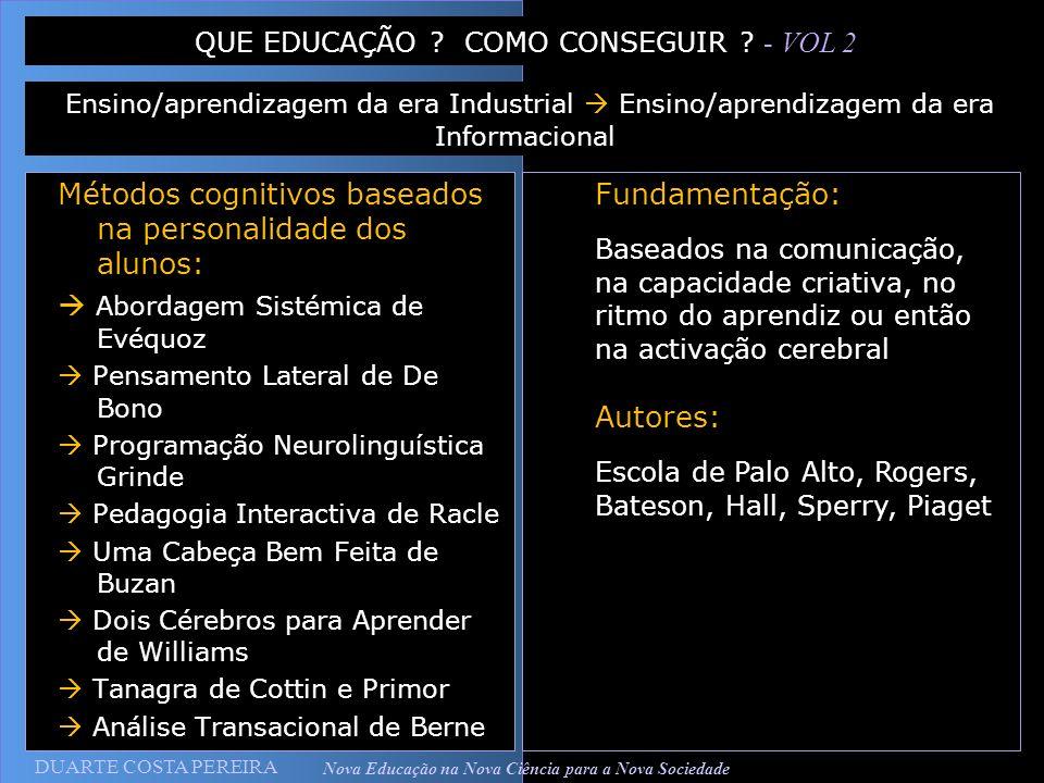 DUARTE COSTA PEREIRA Nova Educação na Nova Ciência para a Nova Sociedade Métodos cognitivos baseados na personalidade dos alunos: Abordagem Sistémica