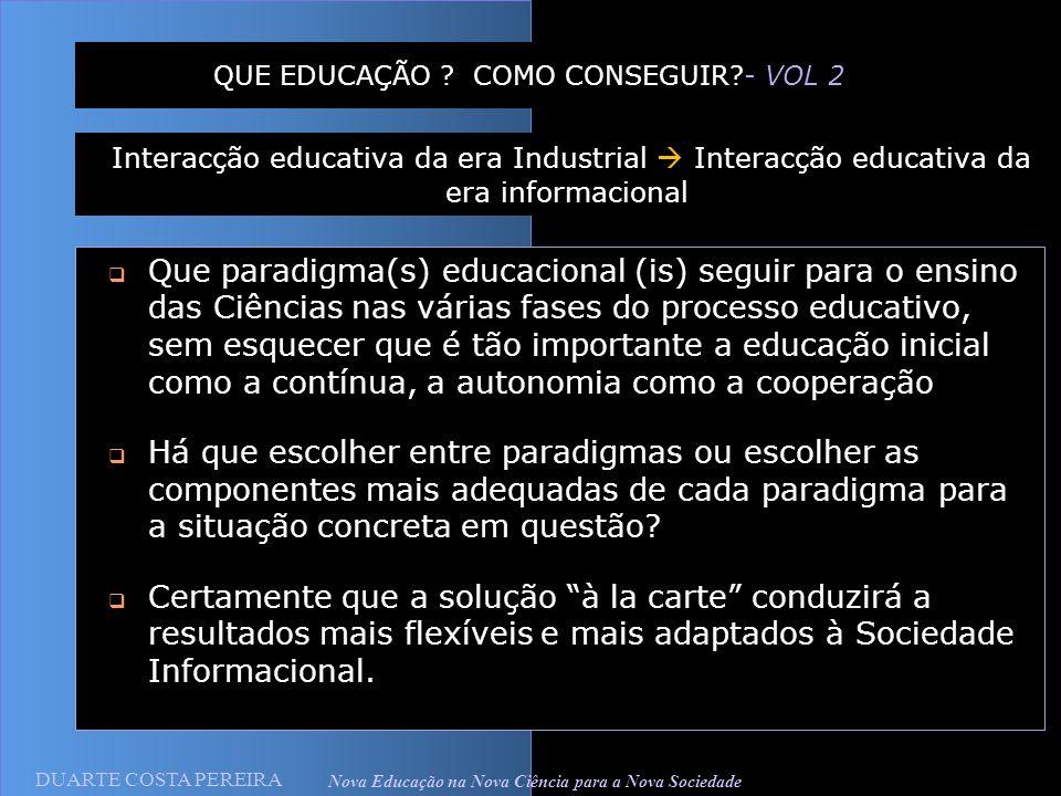 DUARTE COSTA PEREIRA Nova Educação na Nova Ciência para a Nova Sociedade QUE EDUCAÇÃO ? COMO CONSEGUIR?- VOL 2 Que paradigma(s) educacional (is) segui