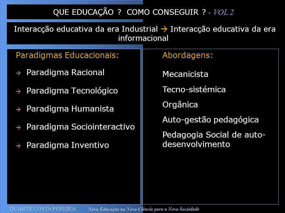 DUARTE COSTA PEREIRA Nova Educação na Nova Ciência para a Nova Sociedade Paradigmas Educacionais: Paradigma Racional Paradigma Tecnológico Paradigma H