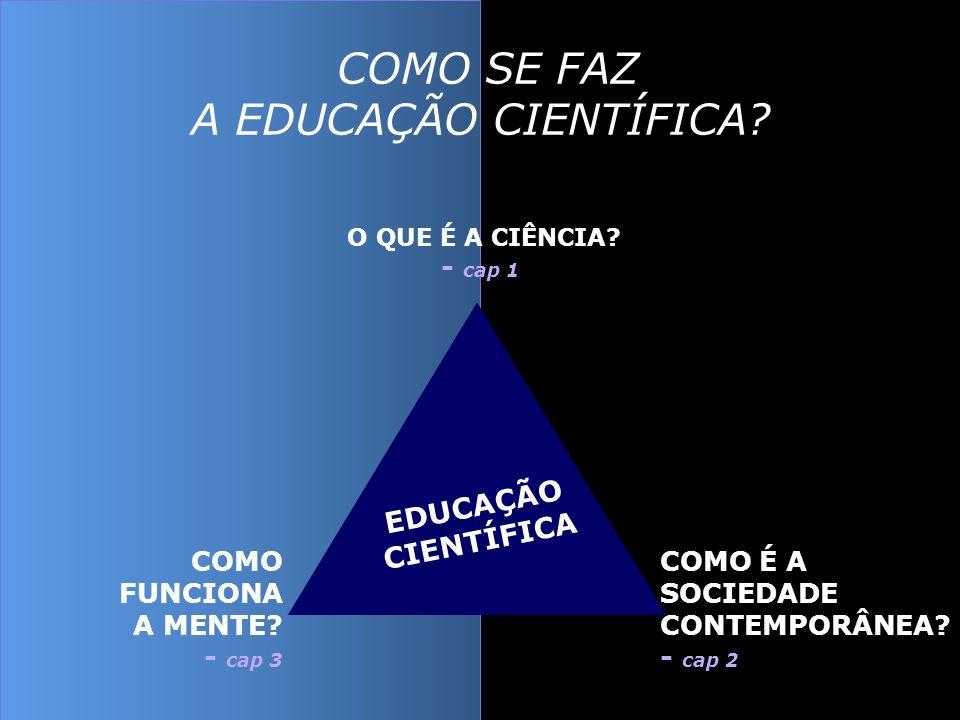 O QUE É A CIÊNCIA? - cap 1 COMO É A SOCIEDADE CONTEMPORÂNEA? - cap 2 COMO FUNCIONA A MENTE? - cap 3 EDUCAÇÃO CIENTÍFICA COMO SE FAZ A EDUCAÇÃO CIENTÍF