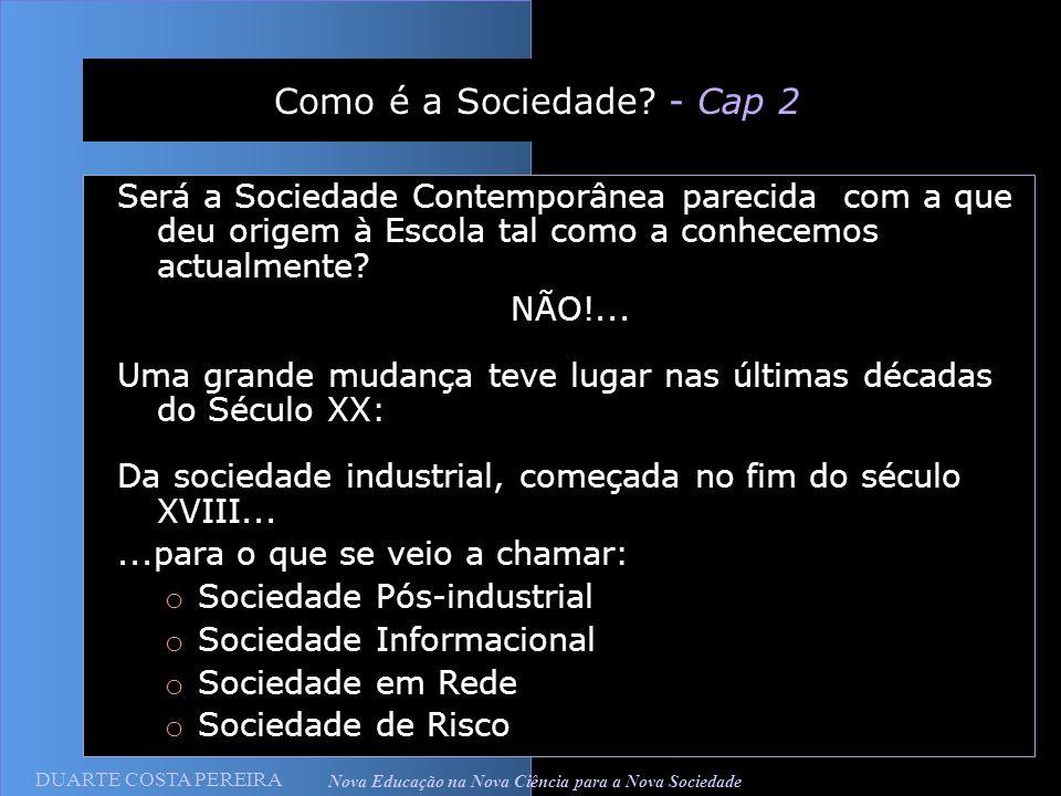DUARTE COSTA PEREIRA Nova Educação na Nova Ciência para a Nova Sociedade Como é a Sociedade? - Cap 2 Será a Sociedade Contemporânea parecida com a que