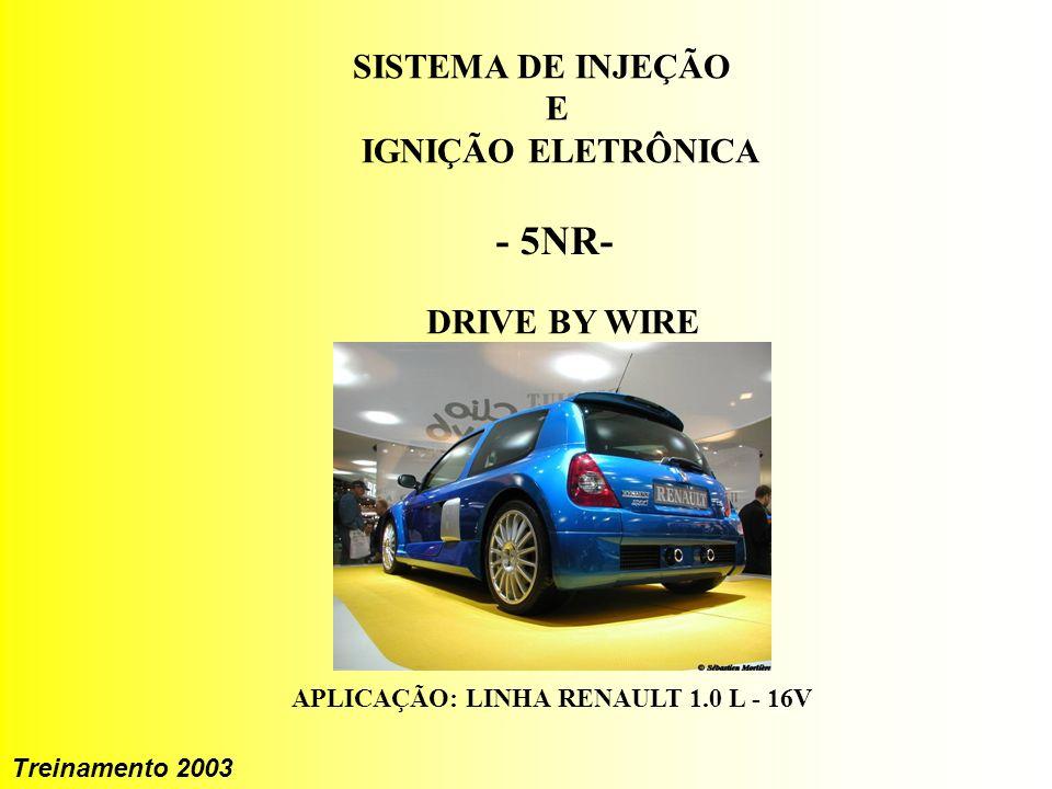 1 Treinamento 2003 IAW 5NR SISTEMA DE INJEÇÃO E IGNIÇÃO ELETRÔNICA - 5NR- DRIVE BY WIRE APLICAÇÃO: LINHA RENAULT 1.0 L - 16V Treinamento 2003