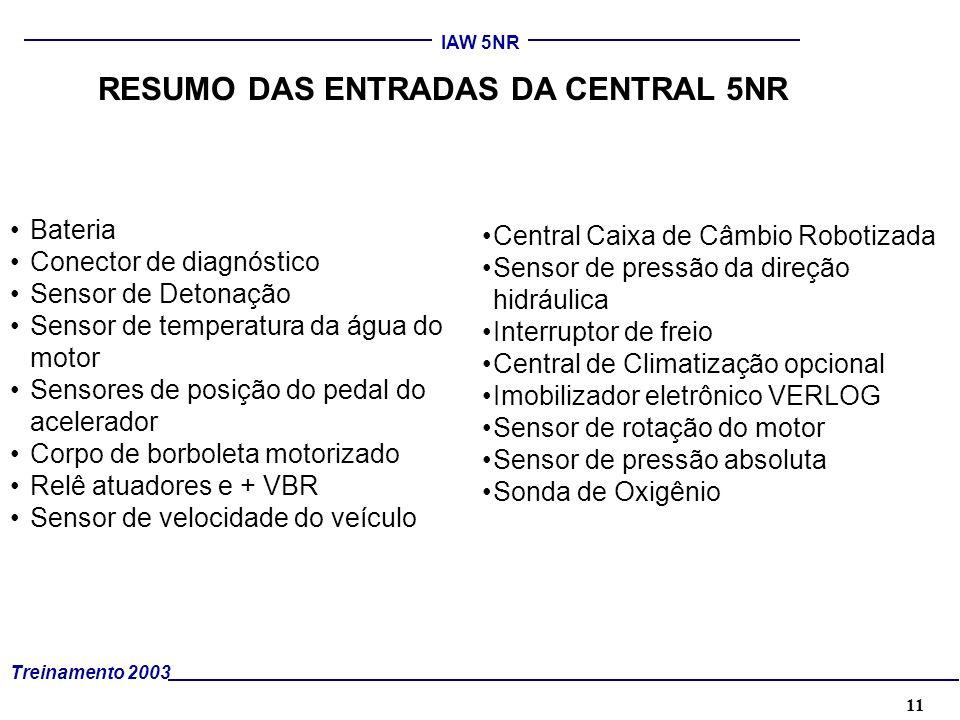 11 Treinamento 2003 IAW 5NR RESUMO DAS ENTRADAS DA CENTRAL 5NR Bateria Conector de diagnóstico Sensor de Detonação Sensor de temperatura da água do mo