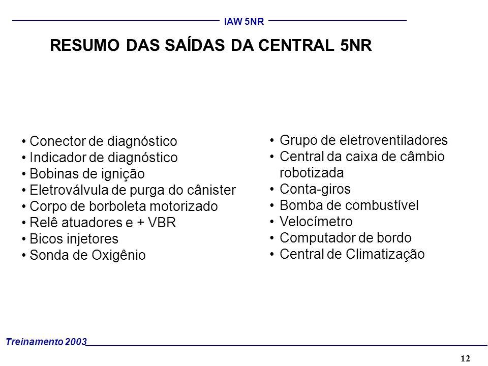 12 Treinamento 2003 IAW 5NR RESUMO DAS SAÍDAS DA CENTRAL 5NR Conector de diagnóstico Indicador de diagnóstico Bobinas de ignição Eletroválvula de purg